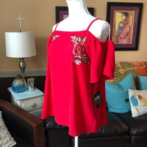 NWT Embroidered Red Blouse with Floral Detail